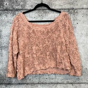 American Apparel Tops - American Apparel // Textured Rose Cropped Blouse